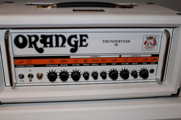 Orange Thunderverb 50 Watt Head & 4x12 Cabinet Ltd Ed White