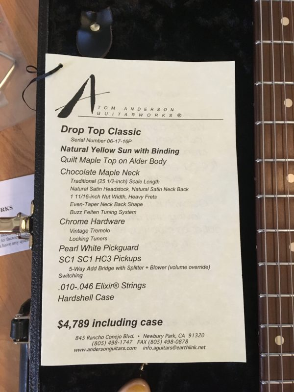 IMG 8616 e1530810592538 600x800 - 2016 Tom Anderson Drop Top Classic Guitar in Natural Yellow Sun Quilt Top