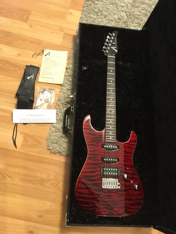 IMG 9893 e1542050259159 600x800 - 2014 Tom Anderson Drop Top Guitar-Killer Canjun Red Quilt Top