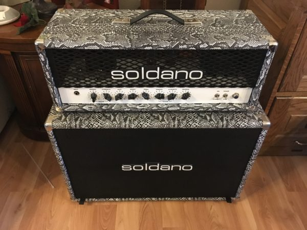 IMG 0113 600x450 - Soldano Hot Rod 50+ Plus Tube Guitar Amp Rare Black-n-White Boa W/Matching 2x12 Cab