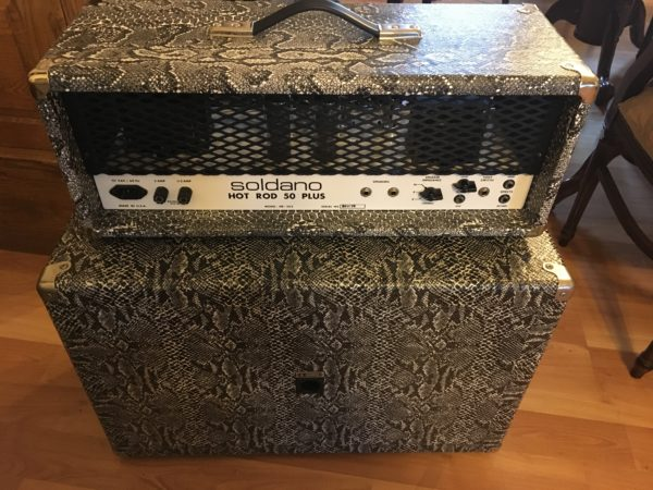 IMG 0114 600x450 - Soldano Hot Rod 50+ Plus Tube Guitar Amp Rare Black-n-White Boa W/Matching 2x12 Cab