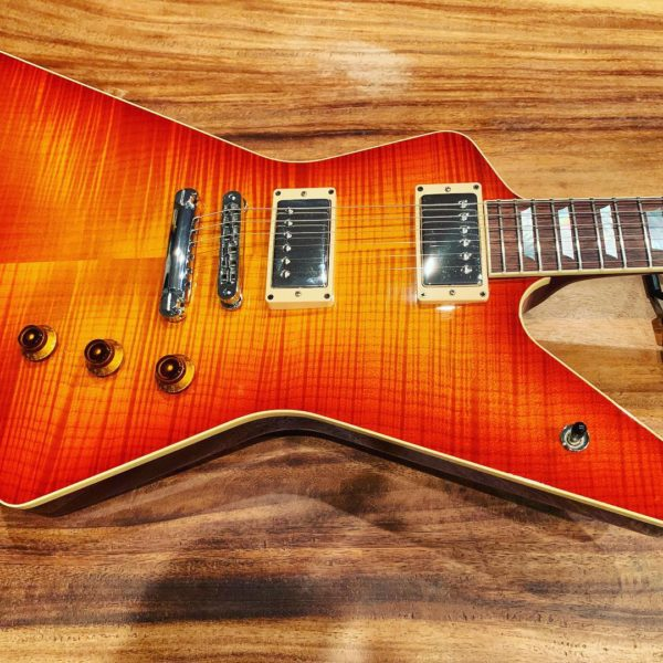 IMG 0737 1 600x600 - 2007 Hamer Standard Explorer Guitar Awesome Flame Top Sunburst