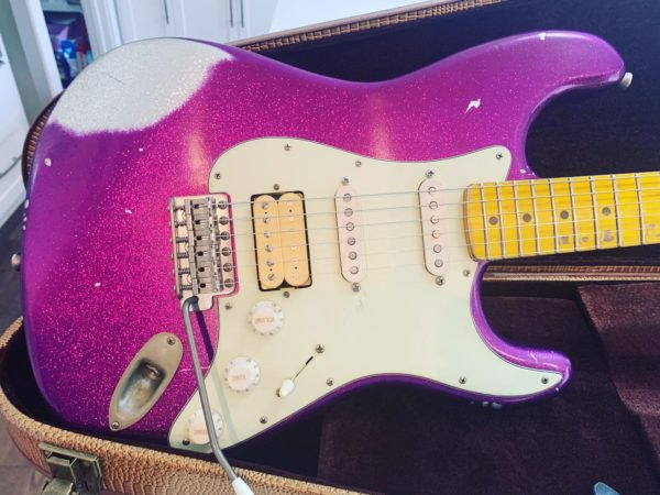 IMG 3166 600x450 - 2019 Nash S63 Stratocaster Heavy Relic Custom Purple Sparkle Paint Guitar