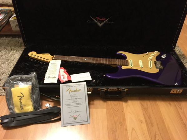 IMG 3499 600x450 - 2005 Fender Custom Shop Classic Player Strat in Purple Gold Anodized Pickguard