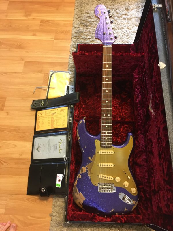 IMG 4789 scaled e1588954897271 600x800 - 2019 Fender Custom Shop 69 Strat Purple Sparkle Heavy Relic Reverse Headstock