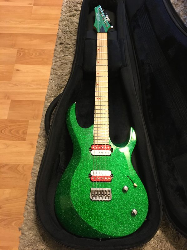 IMG 6859 600x800 - Kiesel Aries Green Sparkle Reverse Headstock Guitar-Hand Signed