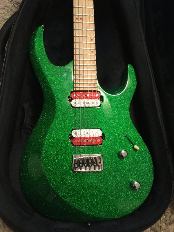 IMG 6860 600x800 - Kiesel Aries Green Sparkle Reverse Headstock Guitar-Hand Signed