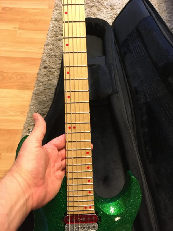 IMG 6862 600x800 - Kiesel Aries Green Sparkle Reverse Headstock Guitar-Hand Signed