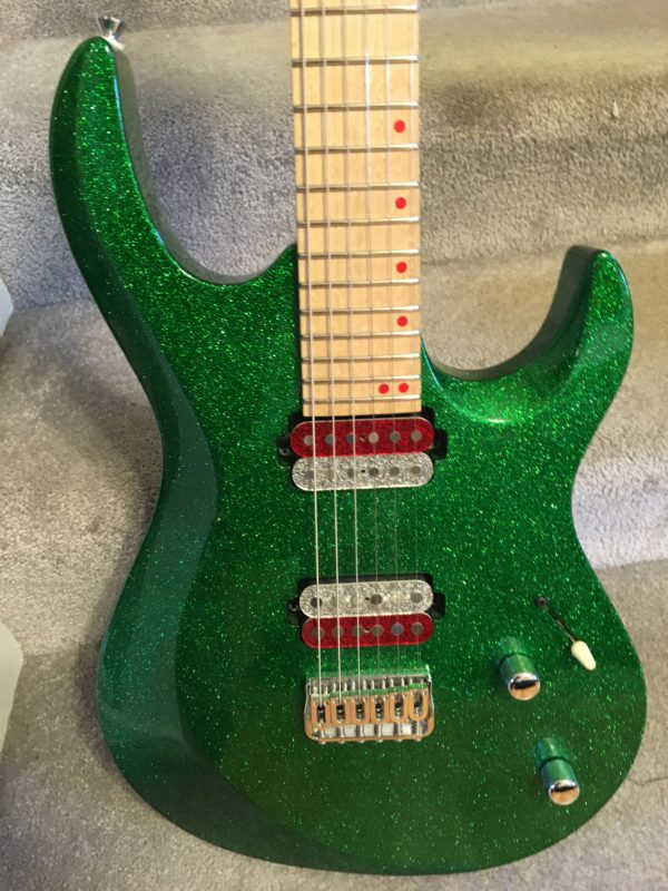 IMG 6867 600x800 - Kiesel Aries Green Sparkle Reverse Headstock Guitar-Hand Signed